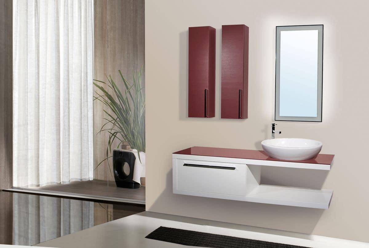 Venere arredo per bagno con pensili e mobile - Lavandino in vetro bagno ...
