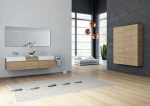 Yumi 01, Mobile bagno a cassettoni, con lavabo integrato
