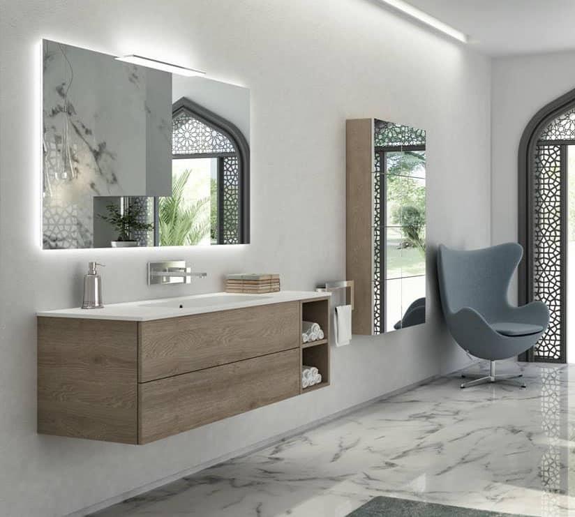 Mobile bagno con finitura pembroke grey ripiano bianco for Bagno arredo design
