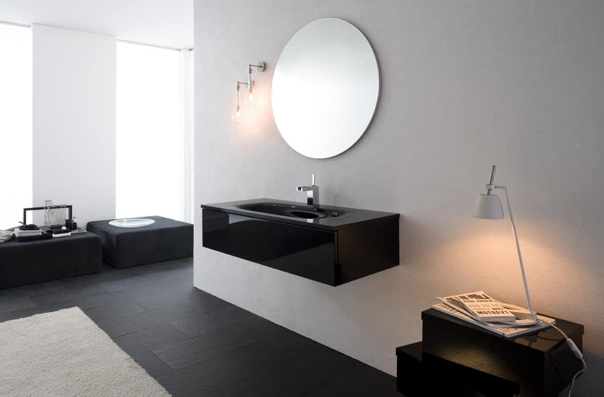 Mobile bagno con lavabo in vetro finitura nero lucido idfdesign - Lavandino bagno vetro ...