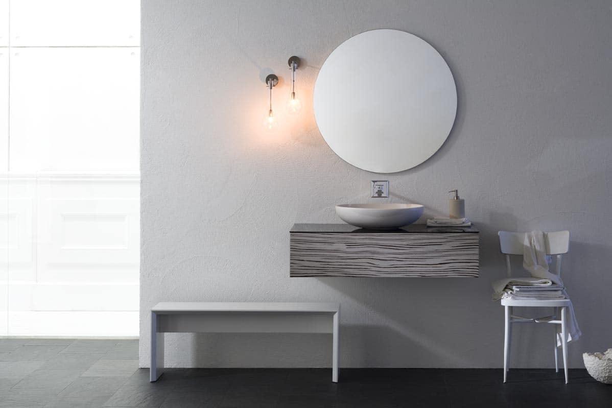 Lavandini Da Bagno Da Appoggio : Cassettiera per bagno in zebrano bianco con lavabo da appoggio