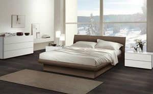 Camera 13, Arredamento per camera da letto, letto in legno dal design contemporaneo