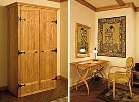 Collezione Castello, Arredamento completo per camera albergo, stile rustico, in legno castagno massiccio