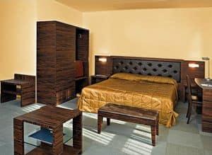 Collezione Class, Camera da letto su misura, in legno d'ebano, per camere hotel