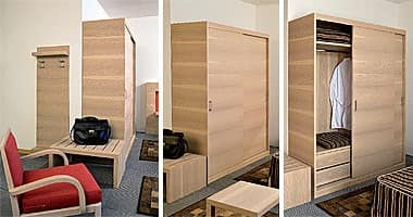 Arredo su misura con camera e monoblocco cucina finitura for Arredo camere albergo