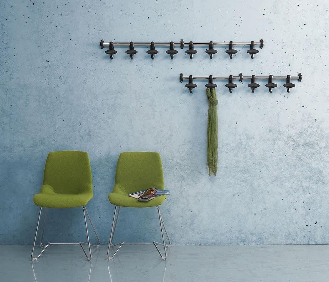 Appendiabiti da muro in acciaio e policarbonato idfdesign - Appendiabiti design da muro ...