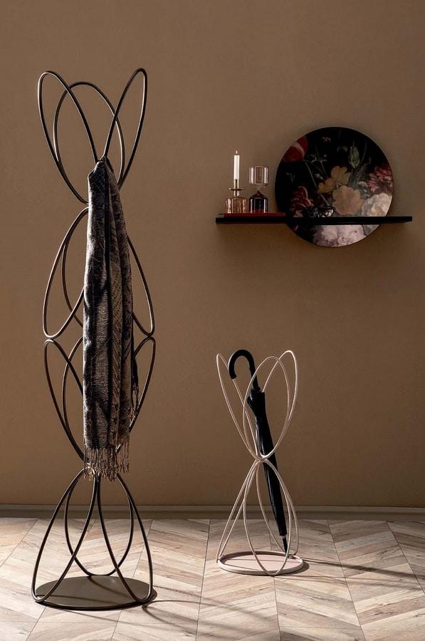 VANITY, Appendiabiti e portaombrelli in filo metallico laccato