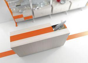 Contemporary - banco cassa negozio casalinghi, Bancone cassa per negozio dal design essenziale