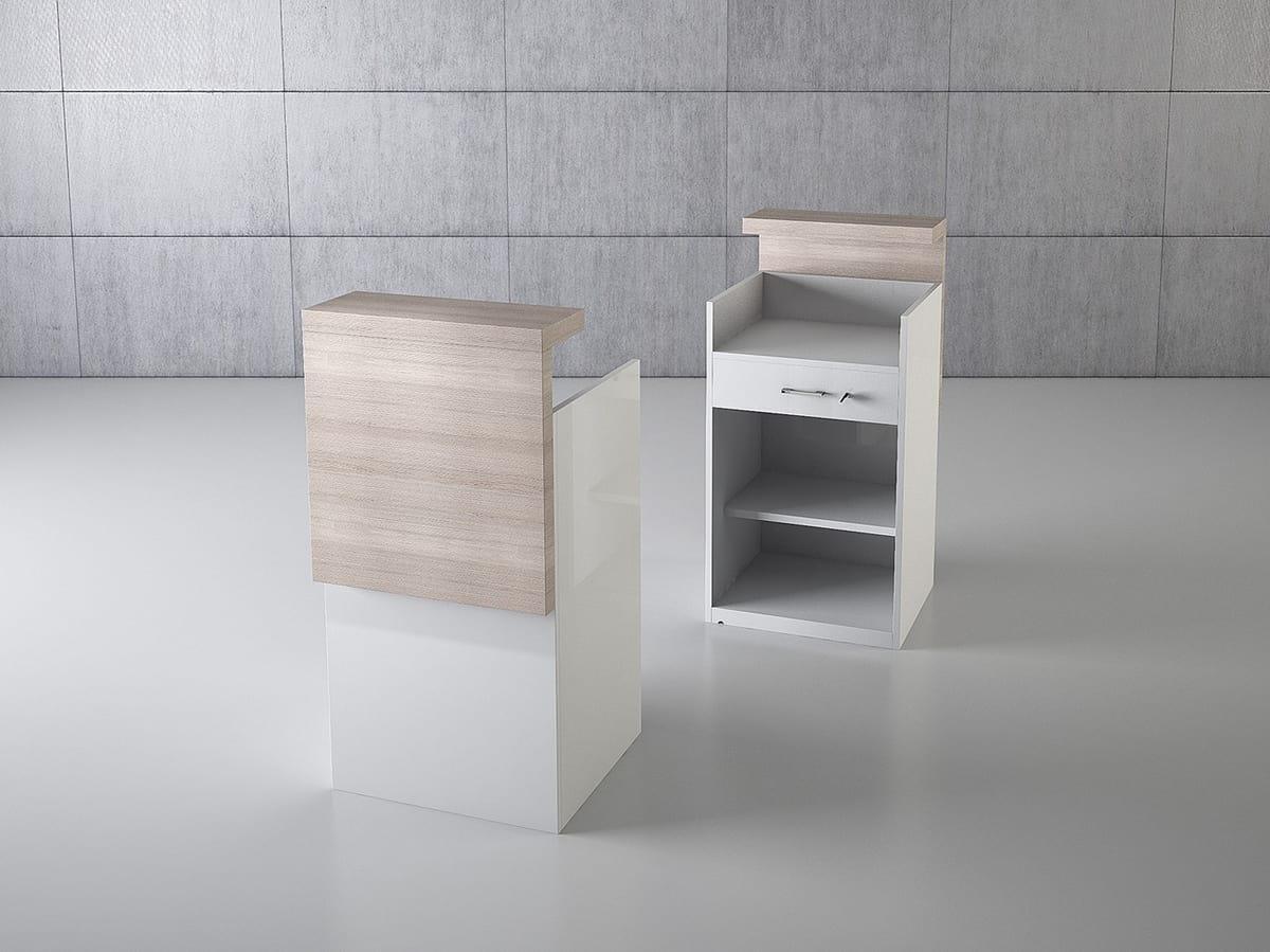 Bancone In Legno Per Negozio : Banco cassa da negozio in legno con cassetto idfdesign