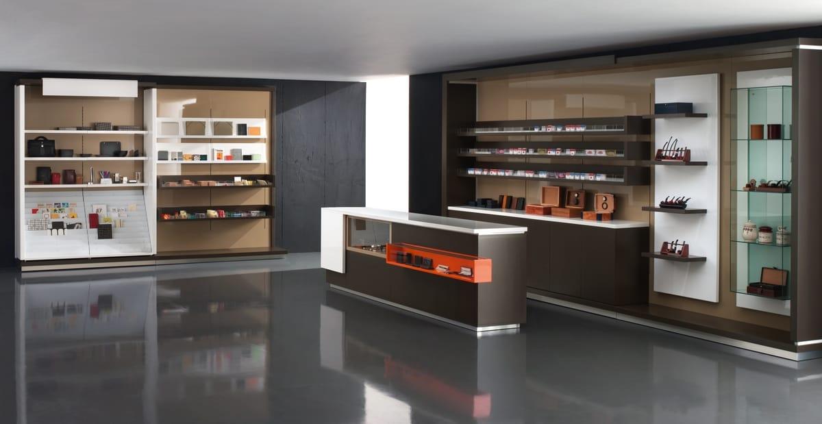 Bancone per cassa negozio con vetrina espositiva idfdesign for Arredamento tabaccheria prezzi
