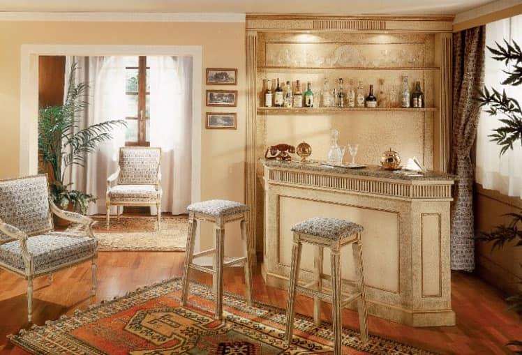 Arredamento su misura per angolo bar boiserie laccata for Bancone con angolo