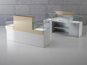 Quadratum frame comp. 02, Bancone lineare per negozio, con doppia vetrina