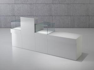 Quadratum frame comp. 04, Banco vendita per negozio, con vani vetrina