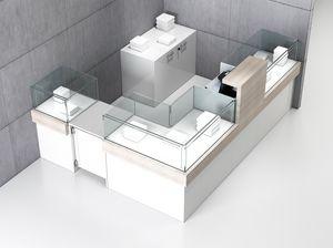 Quadratum frame comp. 05, Bancone angolare per negozio, con tre elementi vetrina
