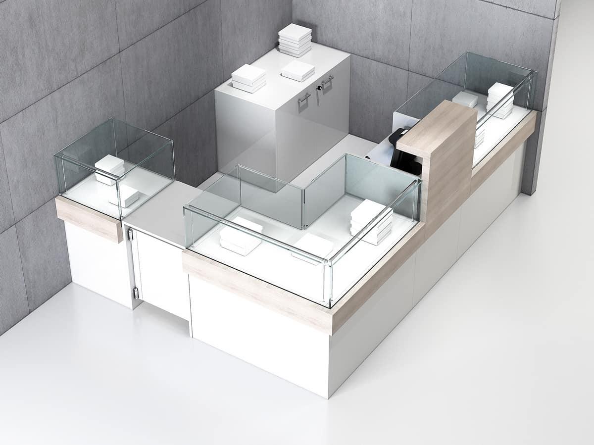 COM/QF5, Bancone angolare per negozio, con tre elementi vetrina