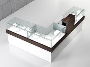 Quadratum frame comp. 06, Bancone a forma di L, per negozio di abbigliamento ed oreficeria