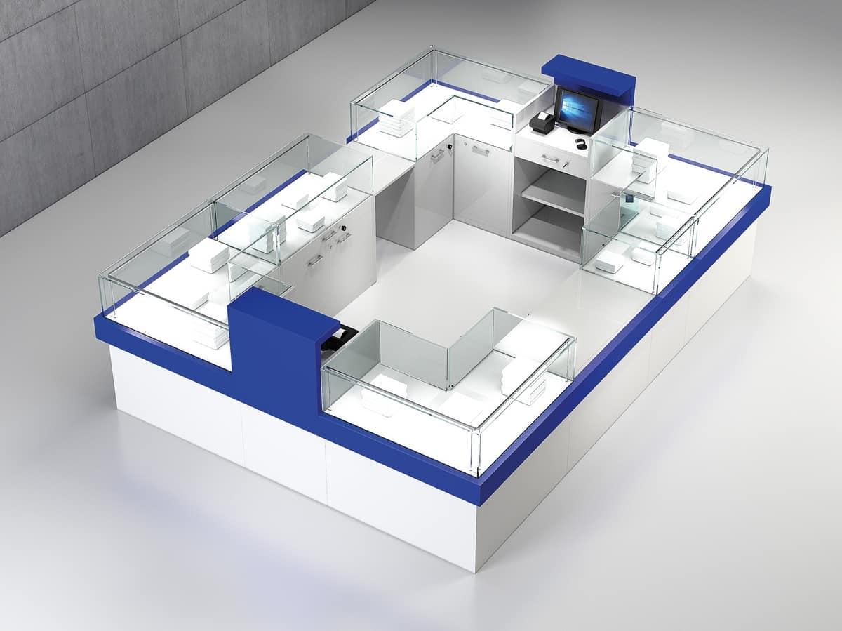 Banco Da Lavoro Per Telefonia : Banco vendita per negozio con vani vetrina idfdesign