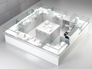 Quadratum frame comp. 09, Bancone quadrato per negozio, con isola centrale
