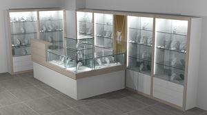 Quadratum frame comp. 10, Parete e banchi espositivi per negozio