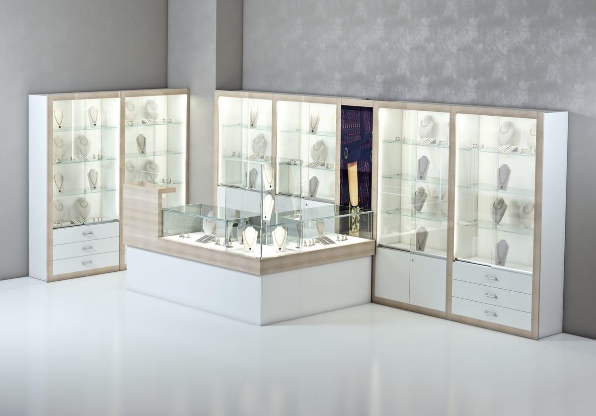 Bancone In Legno Per Negozio : Bancone angolare in legno per gioiellerie e negozi idfdesign