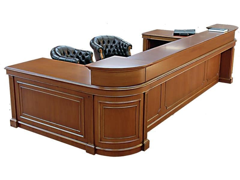 Tavolo da reception in legno con postazioni multiple for Scrivania da reception