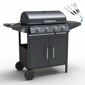 Barbecue BBQ a gas in acciaio inox con 4+1 bruciatori e griglia AYRSHIRE - BB2087GEUN, Barbecue su ruote