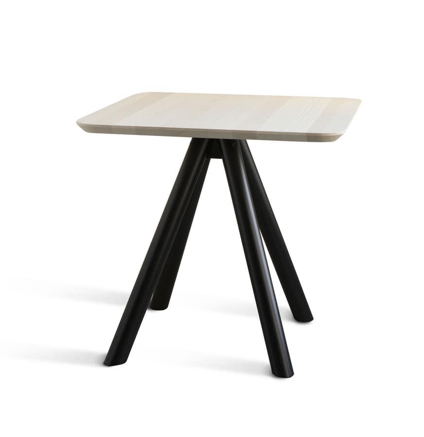 ART. 0098-4 AKY CONTRACT, Base per tavolino design da bar, in legno, con 4 gambe