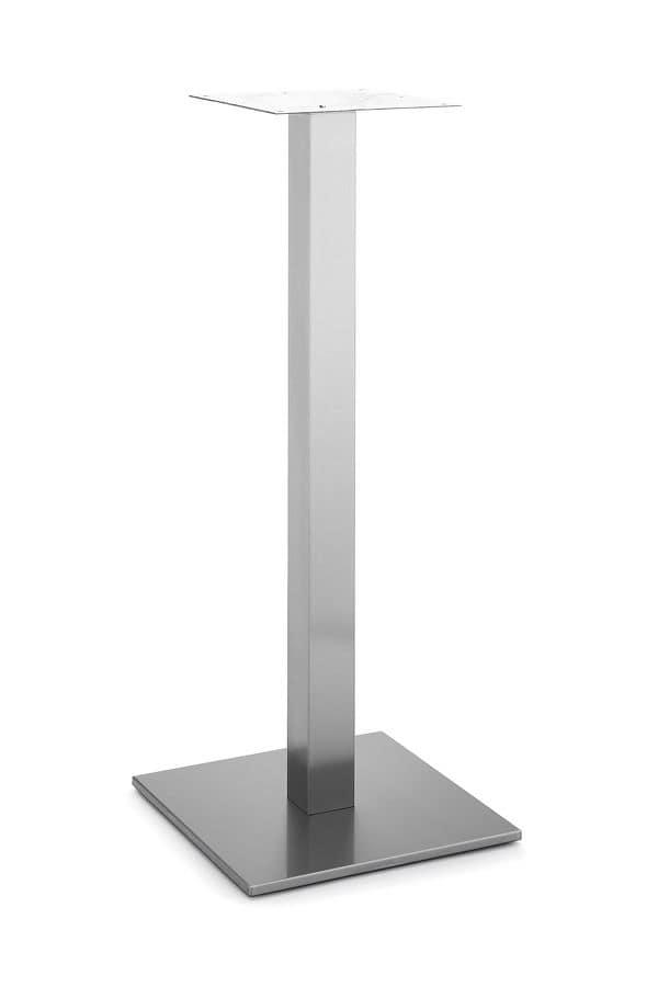Art.260/H 1100, Base quadra per tavolo, struttura in metallo con un tubo centrale, per ambienti contract e domestici