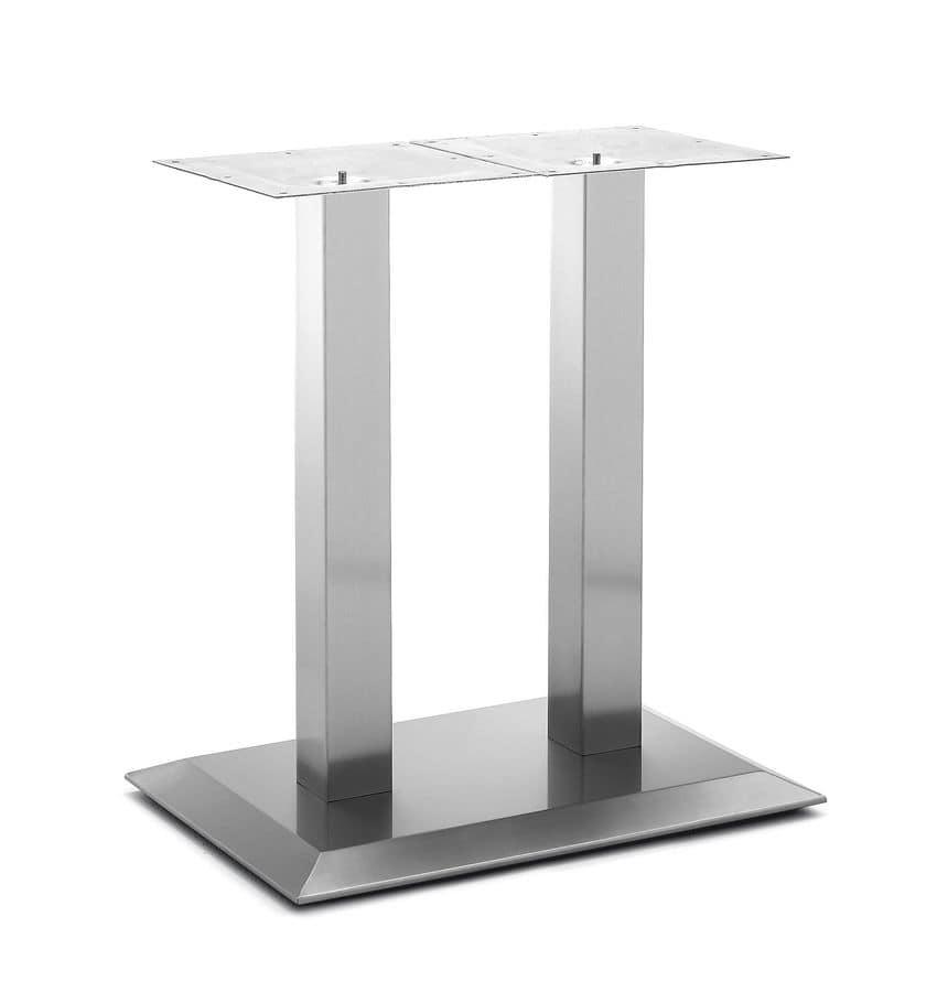 Art.281, Base rettangolare per tavolo, struttura in acciaio satinato, per ambiente contract e domestico
