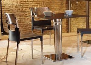 Basamento Tiffany - base quadrata, Base quadrata per tavolino, in acciaio inox con zavorra