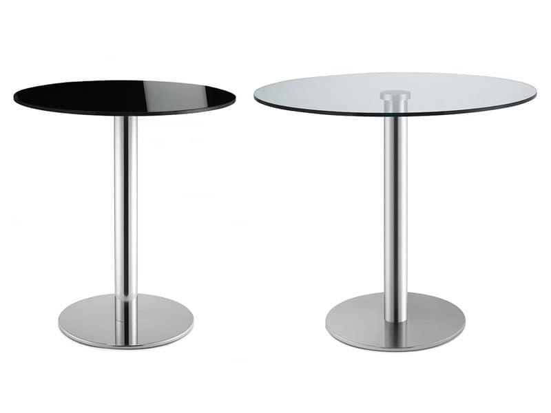 Basamento Tiffany - glass, Tavolino tondo da bar, in acciaio inox, piano in vetro