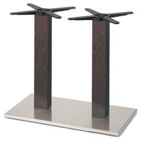 Firenze 9217, Base tavolo per bar, base in acciaio e 2 colonne in faggio massiccio