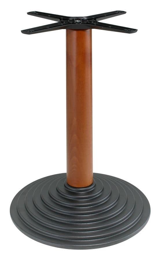 TG06, Base per tavolo, struttura in metallo e colonna in legno, per contract use