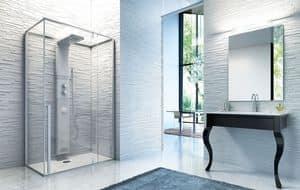 BABELE-STEAM, Doccia hammam con pannello doccia in ceramica, installazione in nicchia