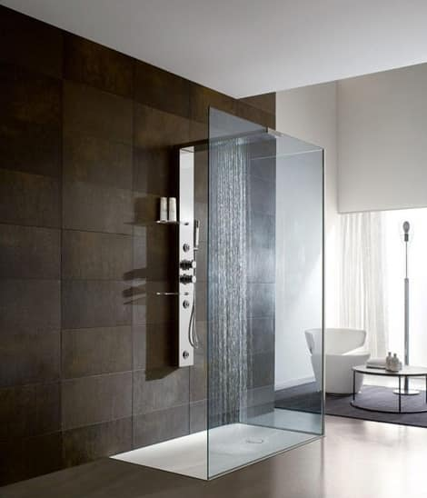 Bristol Box 3, Doccia per parete, colonna in acciaio, per bagni alberghi