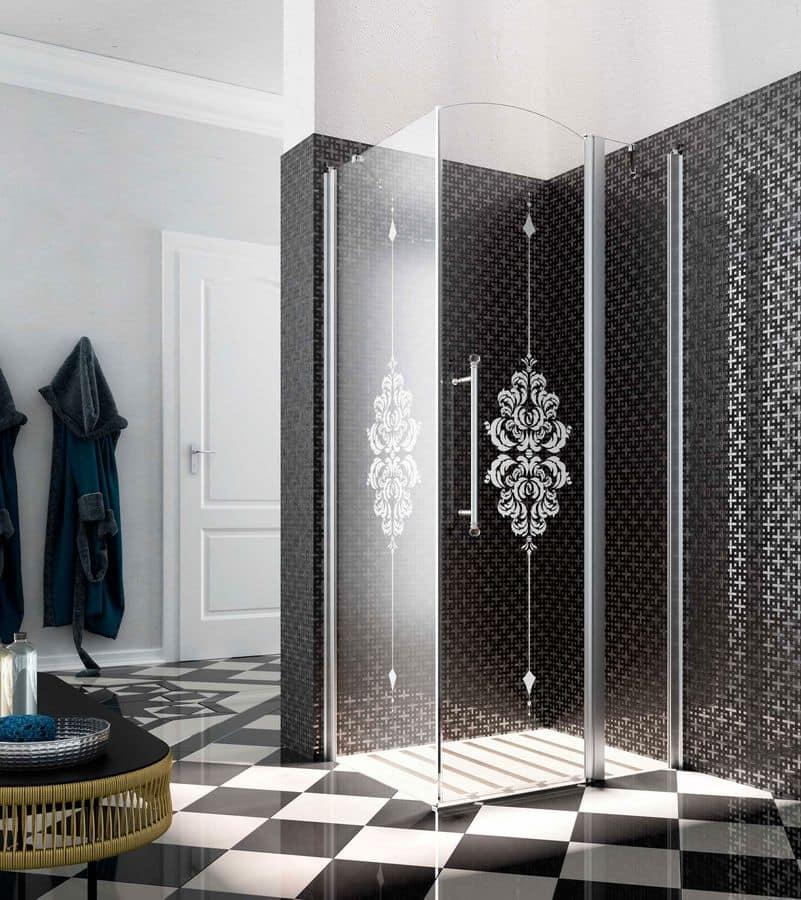 HERITAGE, Chiusura doccia con cristallo decorato, profilo raccogligoccia
