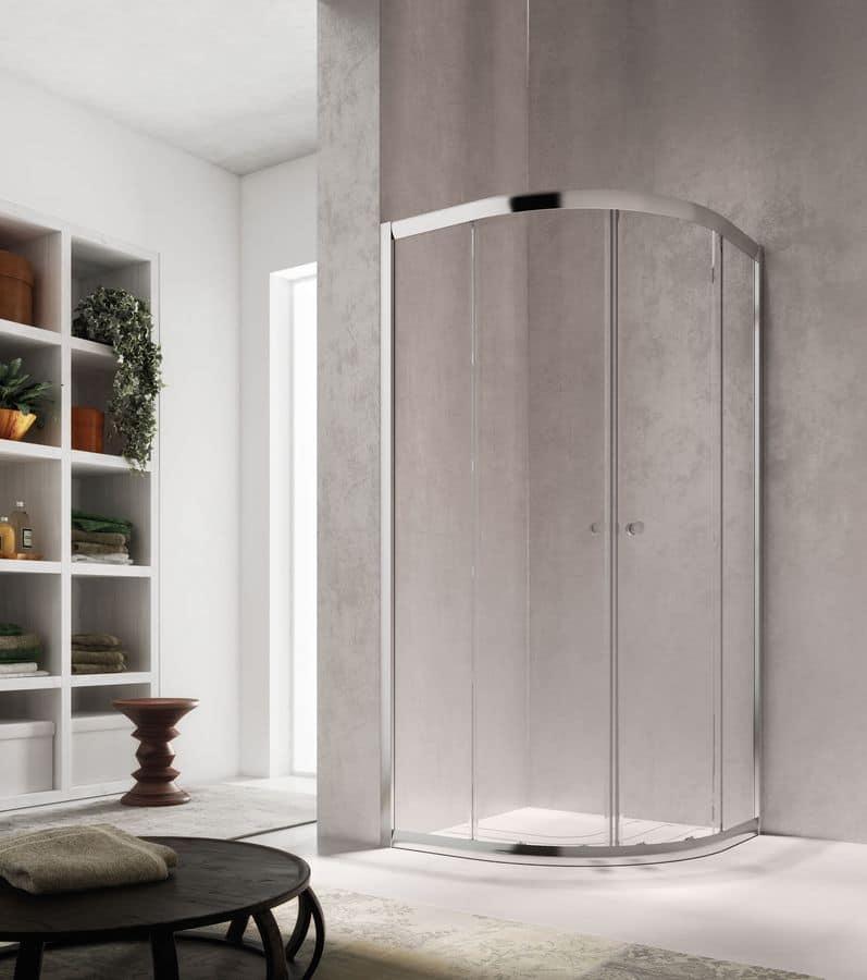 ISY, Cabina per doccia moderna, porta scorrevole, per terme