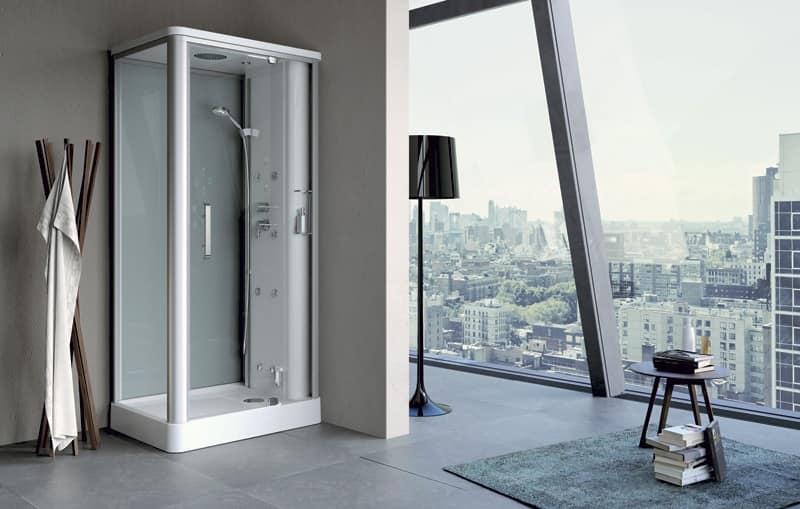 Doccia multifunzione con bagno di vapore per piscina - Box doccia design minimale ...