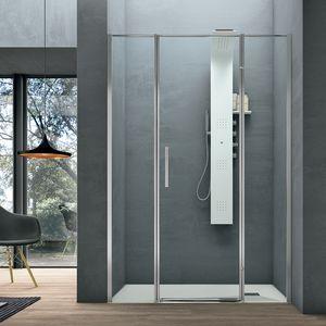 Line, Box doccia, in stile minimale, con porta battente