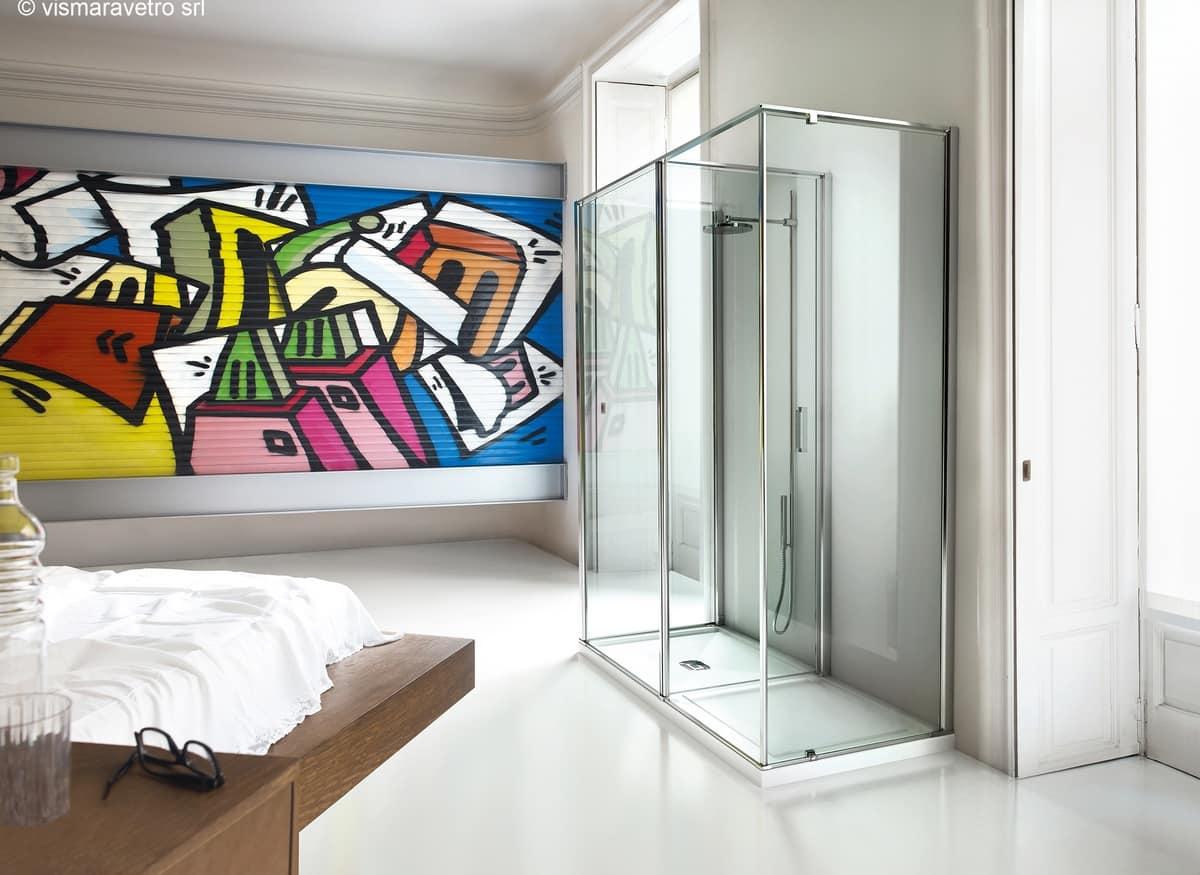 Cabina doccia a parete con zona antidoccia  IDFdesign