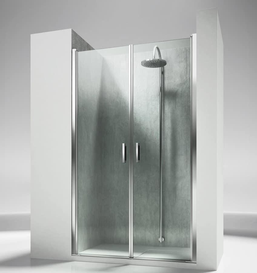 Cabina doccia senza telaio con porte girevoli idfdesign - Box doccia senza telaio ...