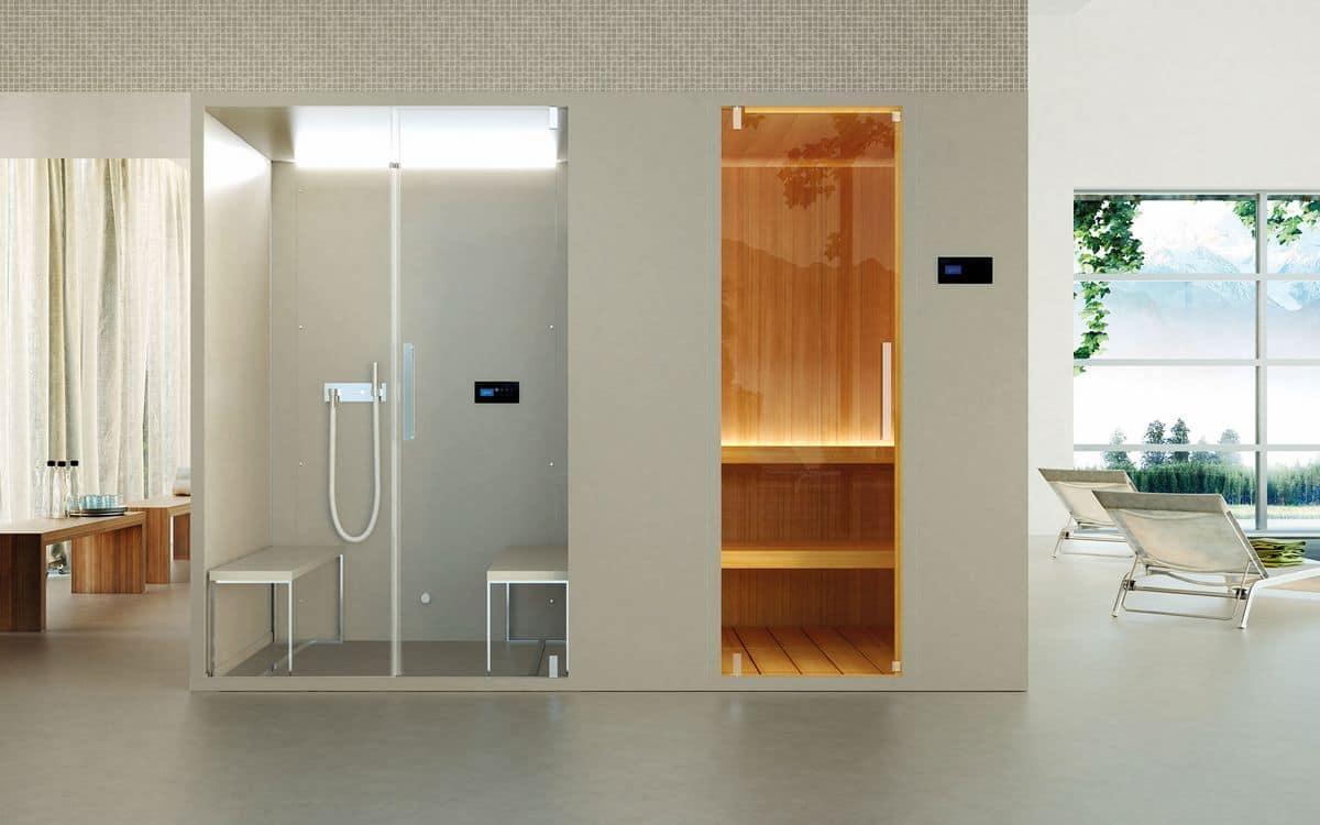 PASODOBLE, Box doccia multifunzione, in materiali pregiati, per uso domestico o professionale
