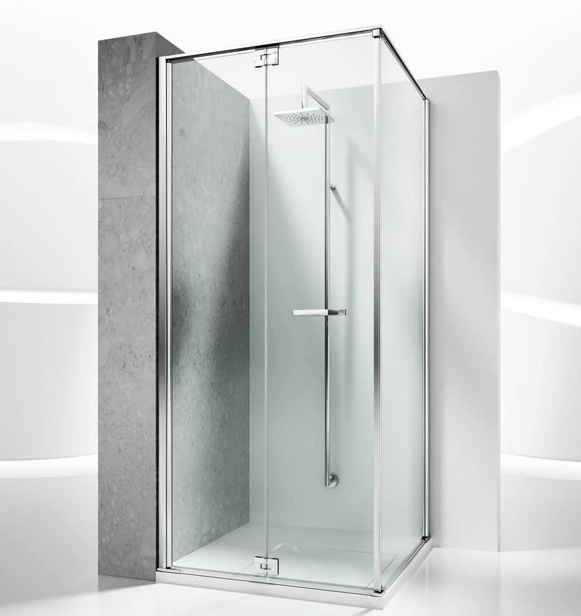Cabina doccia senza telaio per installazioni ad angolo idfdesign - Box doccia senza telaio ...