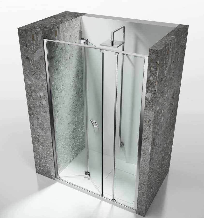 Cabina doccia senza telaio per installazioni in nicchia idfdesign - Box doccia senza telaio ...