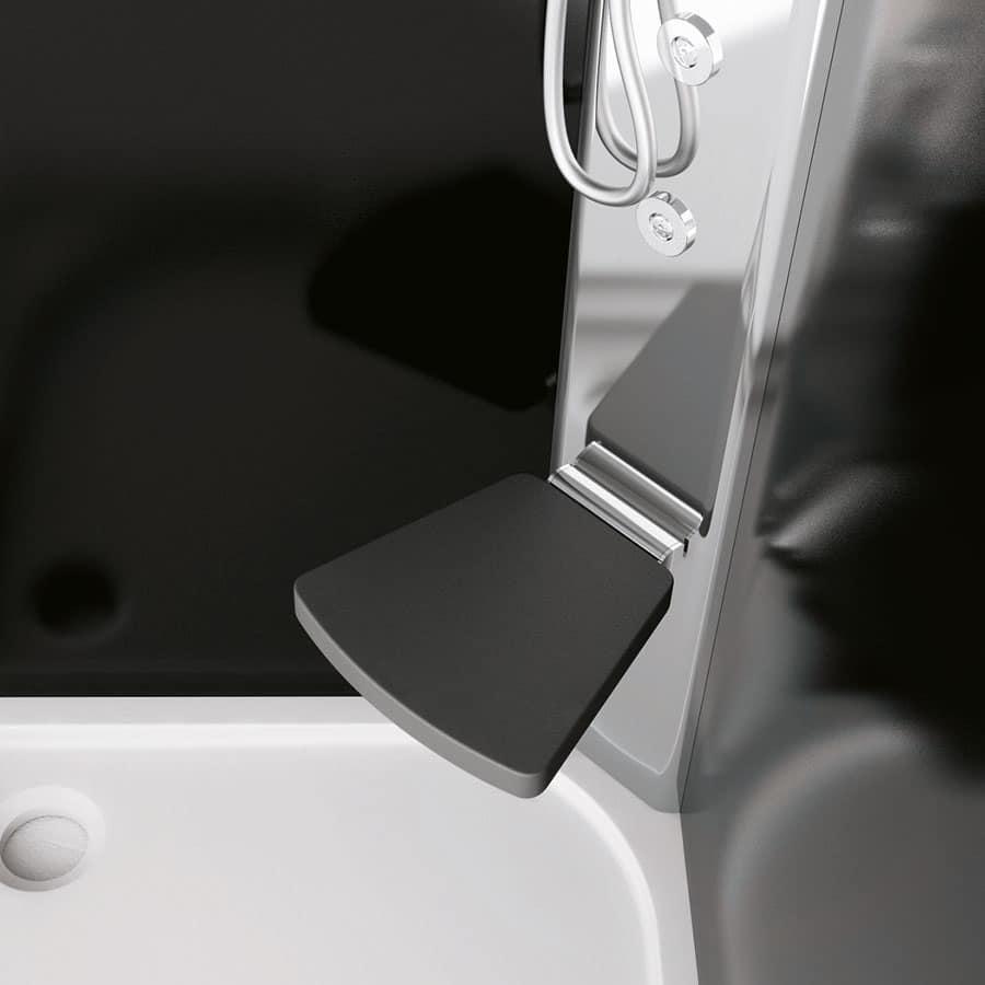Sound, Box doccia con seduta, in cristallo, per bagno moderno