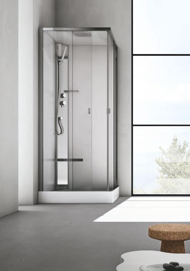 Box doccia con seduta, in cristallo, per bagno moderno ...