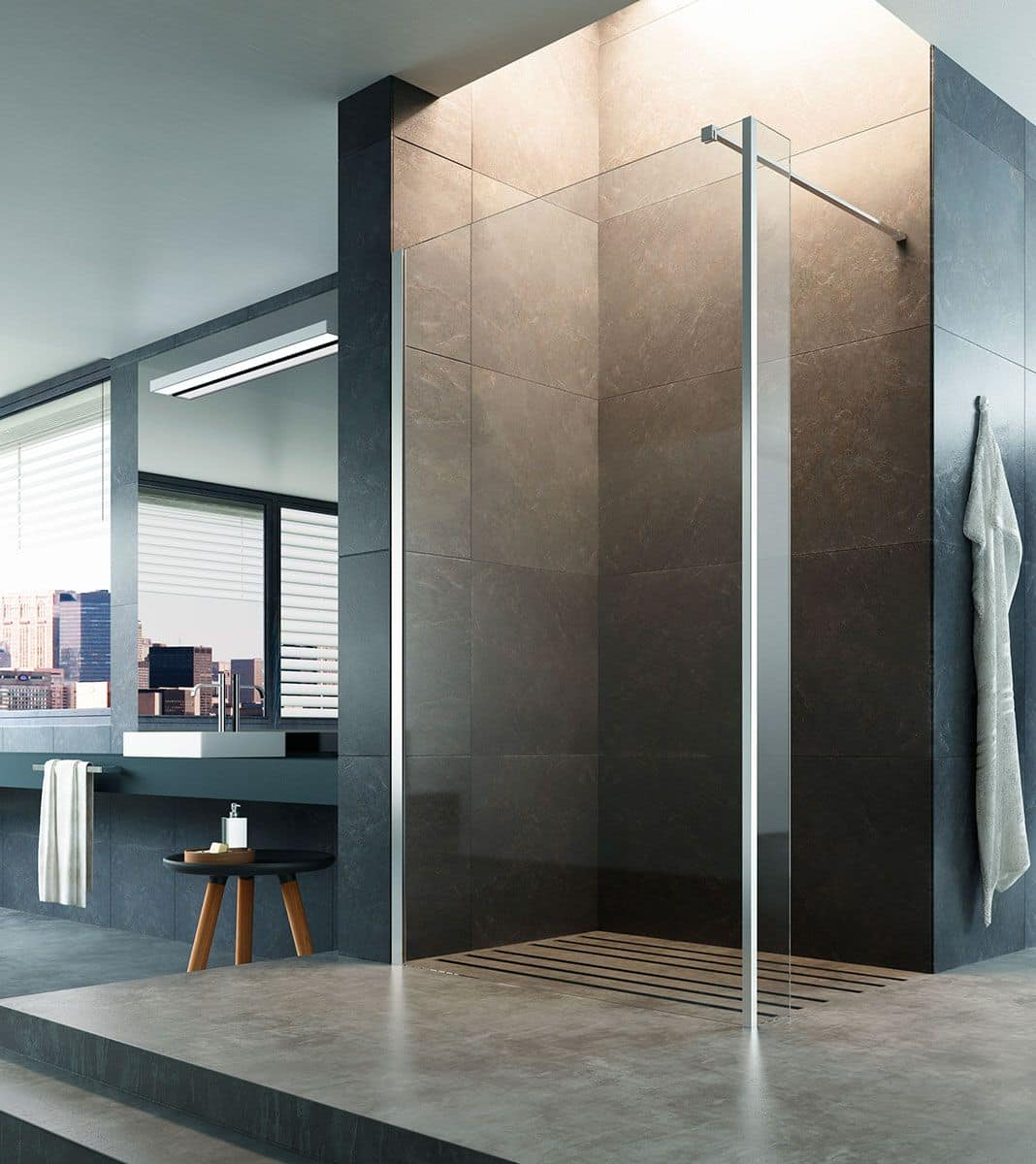 chiusura doccia walk in installazione a pavimento o su piatto idfdesign. Black Bedroom Furniture Sets. Home Design Ideas