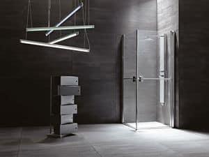 SUAVE, Cabina doccia con ante battenti, varie versioni e finiture