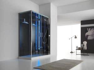 Talos Plus, Box doccia a parete, bagno di vapore, display LCD