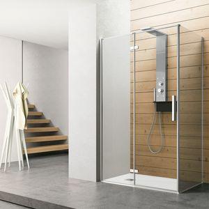 Time con porta battente + fisso, Box doccia con anta battente in vetro trasparente